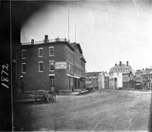 2 years after the great fire of 1870. The Palladian Block was built after the great fire of 1870. The fire started in the alley to the rear of this block. At the time all the buildings in this part of town were wooden.