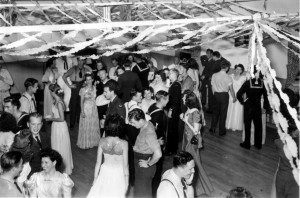 USO dances were held frequently to entertain troops and their friends and families. This shot from 1944 has Jessie Baig in the lower left.