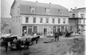 The center of Calais during mud season, as it appeared until about 125 years ago.