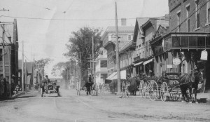 The intersection of transportation can be seen here in St. Stephen: horse and buggies and an early car are each visible.
