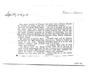 "Obituary of Francis ""Bull"" Powers"