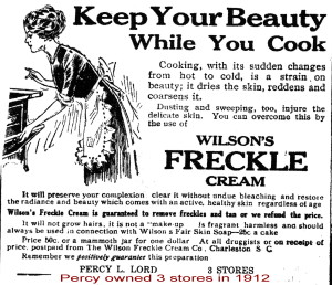 Percy Lord's Freckle Cream 1912