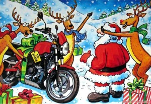 Santa get a motorcycle, year unknown