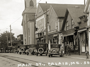 A and P, Shoe Store in what became known as Kramer Block, Olsson's Store before new block was built, Knight Memorial Church