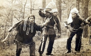 Demonstrating a traditional Passamaquoddy dance in this photo from 1921 are Chief Horace Nicholas (far left), Joseph Nicholas (center), and Joseph Neptune (right).
