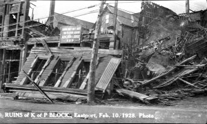 K of P Block fire Eastport 1928