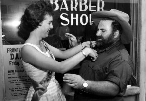 Pat Stewart trims Bev Greenlaw's beard Frontier Week 1961