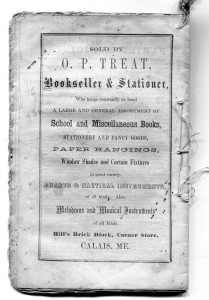 O P Treat ad on back of 1866 Farmer's Almanac
