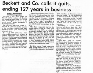 The closure of Beckett's in 1978 (from the Calais Advertiser)