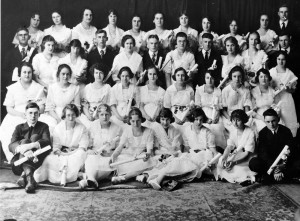 Calais Academy, Class of 1921.  Alice Murdock, long time third grade teacher in Calais, is in the front row, third from the left.  Tillie Gordon is in the second row, third from right.  The last person seated in the same row is Pauline Harrington Horton.  Theo McLain is the last person in the third row.  Mabel Harmon, another long time Calais teacher is in the back row.  She is the sixth person.  The person just after her is Geneva Stanhope.