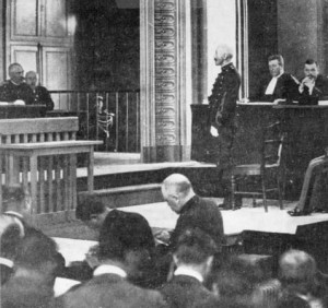 Alfred Dreyfus, an artillery captain in the French Army  accused of anonymously sending secret documents to the German embassy in Paris, is tried for treason before a  court-martial at Rennes.   (Photo by Henry Guttmann/Getty Images)