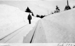 On the RR tracks in big snow of 1926